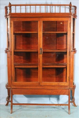Mahogany curved glass china cabinet