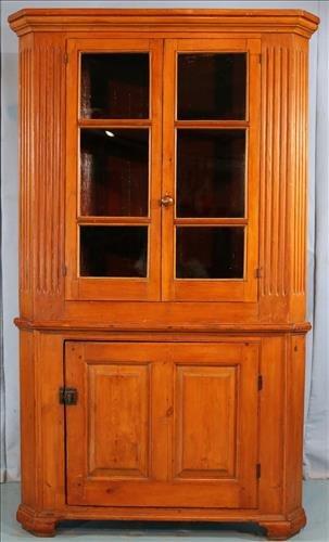 2 piece primitive pine corner cupboard