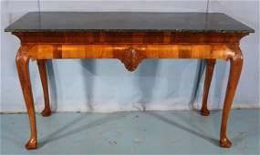 Lg. mahogany marble top Irish Chippendale Table