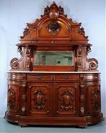 Monumental walnut Victorian American side board