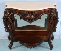 Rosewood rococo marble top pier table