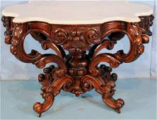 Large rosewood rococo marble top parlor table