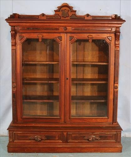 Walnut Victorian 2 door bookcase with drawers