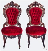 Pair Rosewood laminated side chairs by Meeks