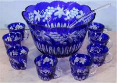 Blue cut crystal punch bowl with ladle