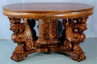 Oak quartersawn dining table with griffins