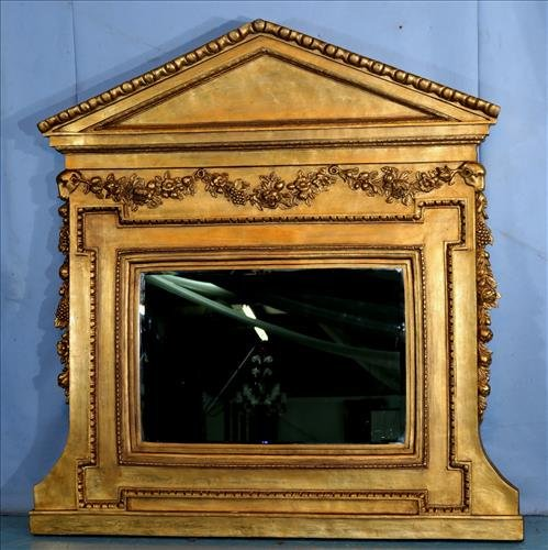 Contemporary gold over the mantle mirror with carvings