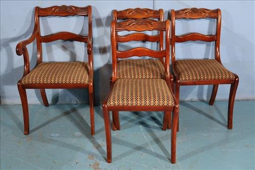 Set of 4 mahogany rose carved chairs