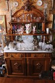 Walnut Victorian sideboard with marble top