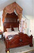 Walnut Victorian high back bed with crown