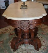 Victorian Center Table w White Marble
