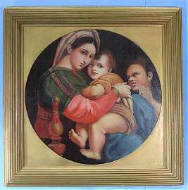 Antique oil on canvas of Madonna and Child