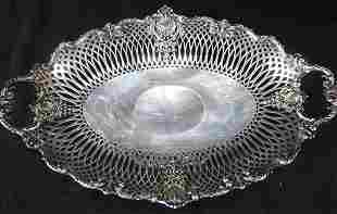Heavy sterling silver footed card receiver