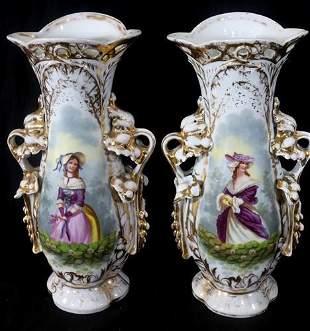 Pair of Old Paris portrait vases, 14 in. T.