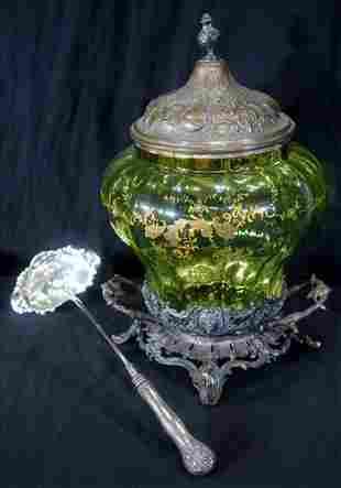 Victorian glass syllabub bowl with ladle