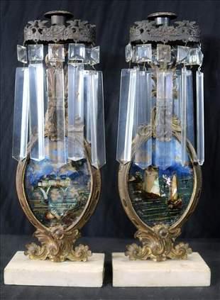 Pair 19th Century girandoles on marble base