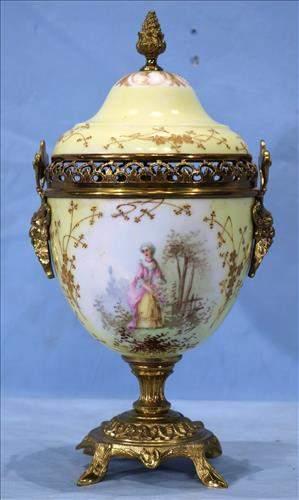 Meissen porcelain figural urn with mark