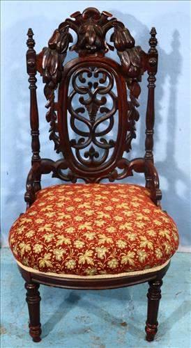 Walnut heavily pierced carved music chair