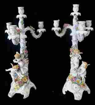 Pr. Dresden 4 candle figural candelabras