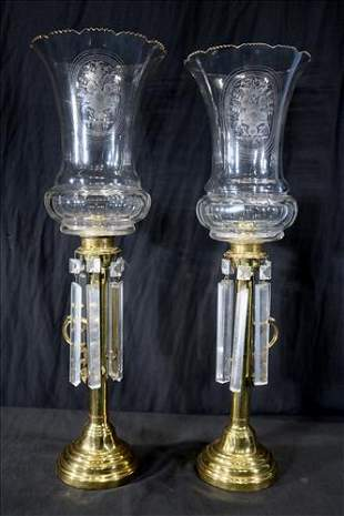 Pair of brass oil hurricane lamps with shade