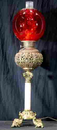 Bronze and onyx banquet lamp w amberina glass