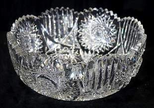 Large brilliant cut glass bowl, very heavy