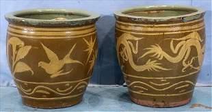 Pair antique Oriental concrete dragon pots