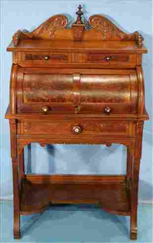 Small mechanical cylinder roll ladies writing desk