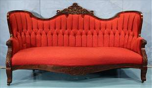 Walnut Victorian grand parlor sofa, 72.5 in. W.
