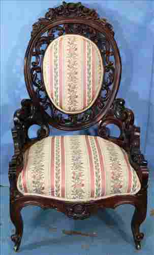 Rosewood rococo heavily carved parlor chair