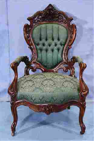 Rosewood rococo parlor chair by Meeks