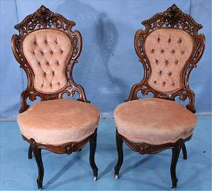 Pr. Rosewood rococo parlor side chairs by Meeks