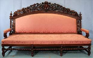 Alexander Roux large heavily carved sofa