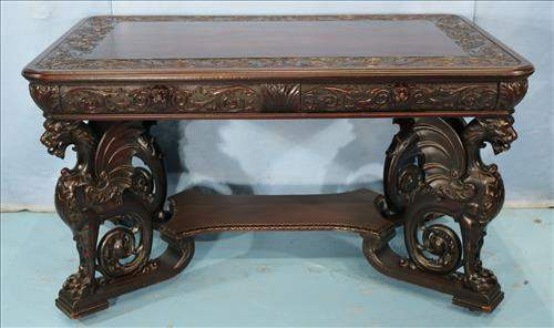 Mahogany partners desk with carved wing griffins