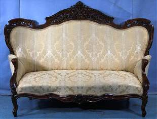 Rosewood rococo parlor sofa, Meeks