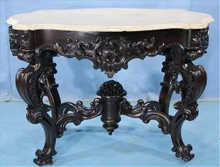 Meeks rosewood carved rococo center table