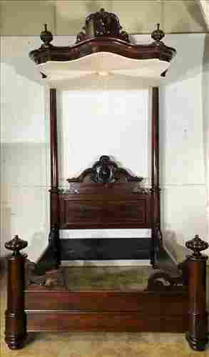 Rosewood rococo three quarter tester bed