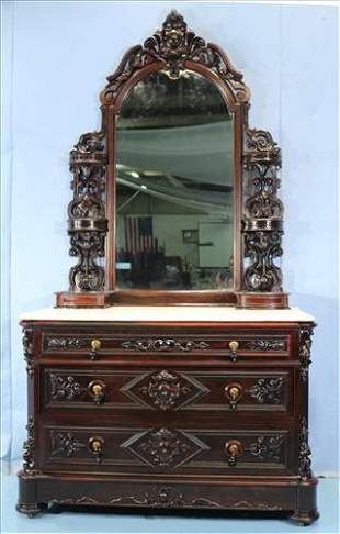Rosewood rococo marble top dresser
