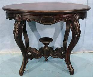 Rosewood Victorian parlor table with cup finial