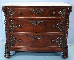 Rosewood rococo marble top wash stand