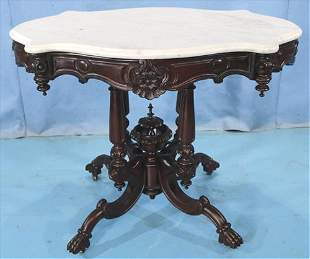 Rosewood rococo center parlor table with marble
