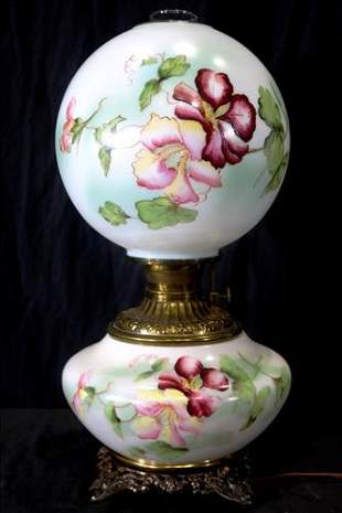 Hand painted Victorian gone with wind lamp