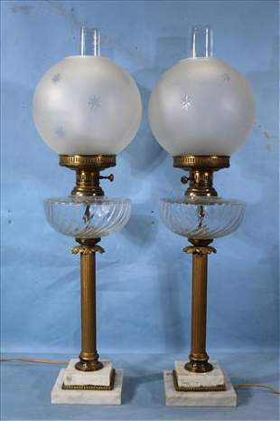 Pair of banquet lamps, 27.5 in. T.