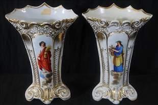 Pair of Old Paris porcelain portrait vases