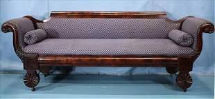 Mahogany Empire sofa with unusual feet
