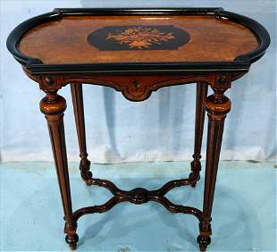 Walnut renaissance revival tea table