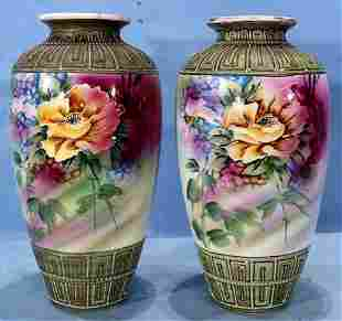 Pair of hand painted Nippon vases, 12 in. T.