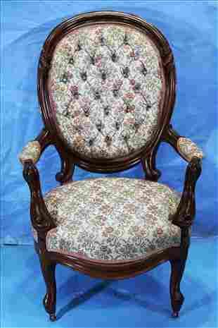 Walnut Victorian finger carved gentleman's chair