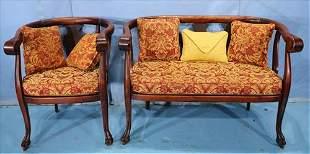 2 piece mahogany Empire parlor suit