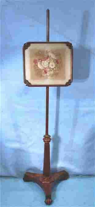 Early Mahogany needlepoint Fire screen